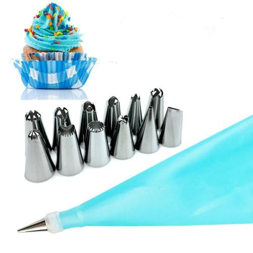 12PCS Stainless Steel Pastry Tips With Pastry Bag