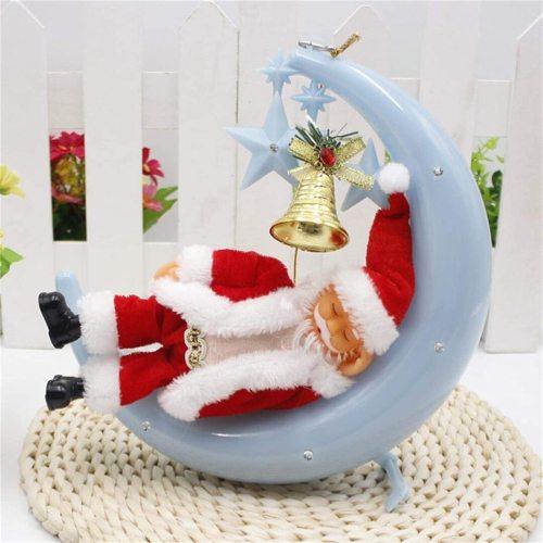 Christmas Electric Decorations Colorful Santa Claus Moon Man Snoring Ornament