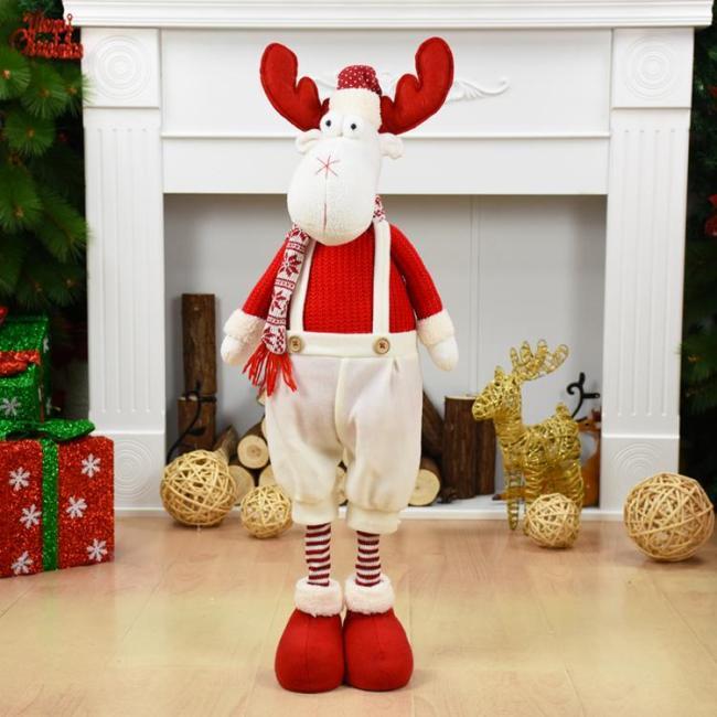Big Size Christmas Dolls Retractable Santa Claus Snowman Elk Toys Xmas Figurines Christmas Gift for Kid Red Xmas Tree Ornament