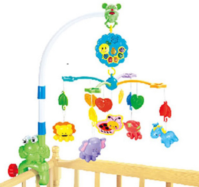 Baby Rattles Crib Mobiles-Mobile bed swivel toy holder, bell, music box, projection 0-18 months, newborn toy
