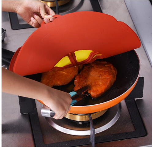 Silicone Boil Over Safeguard Anti Spill Lid Cover Pot Pan Lid Multi-Function Cooking Kitchen Tool (27.5CM)