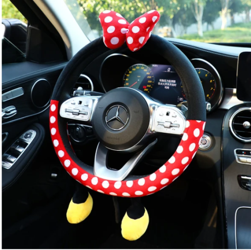 Cute Steering Wheel Covers for Women Winter Warm Fluffy Steering Wheel Cover 15 Inch Universal Fit