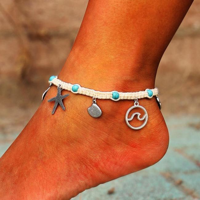 Summer Handmade braided gravel rope braided anklet
