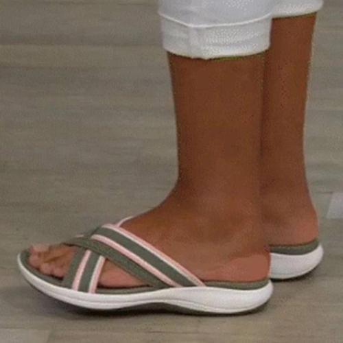 Women Casual Flyknit Fabric Soft Sole Slippers