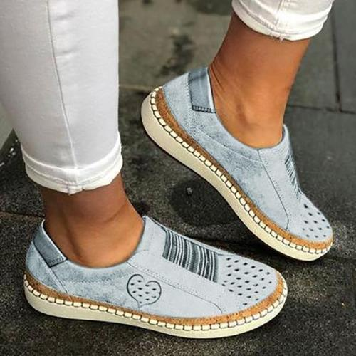 Daily Casual Flat Heart Printed Sneakers