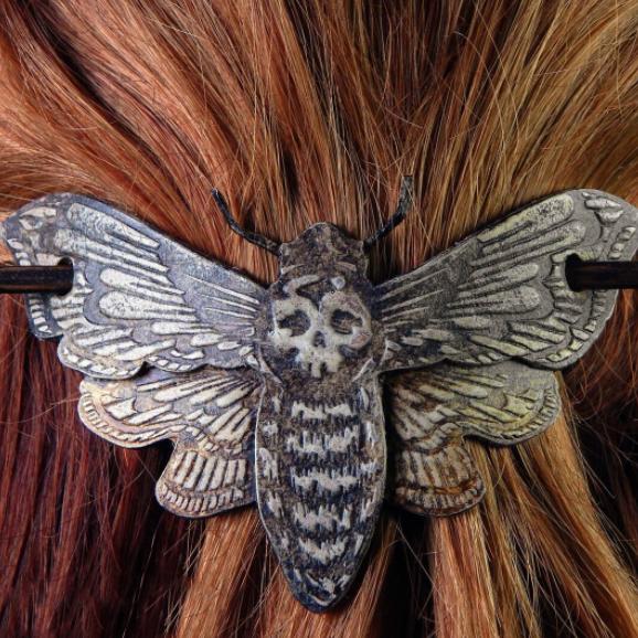 Death Moth/Skull Hair Pin Stick