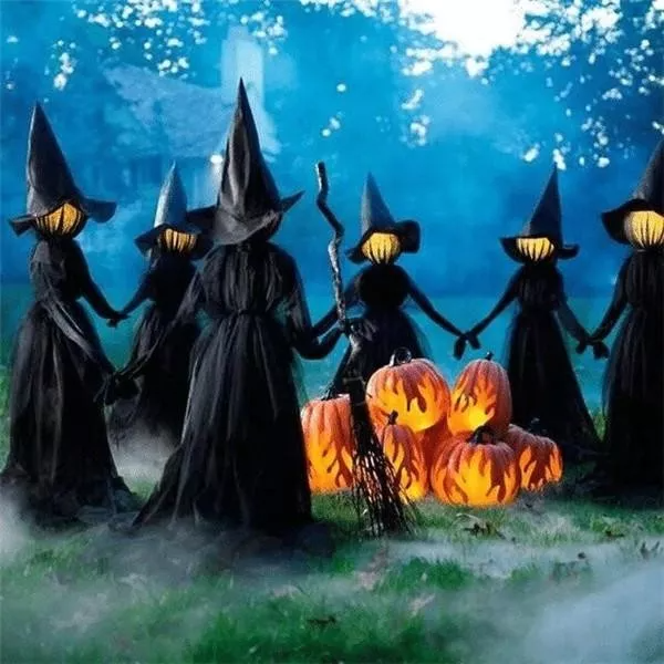 Lighted Halloween Witch Decoration