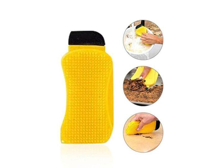 3-in-1 Multifunction Silicone Sponge, Scrubber, Scraper, Squeegee for Kitchen Heavy Duty Cleaning
