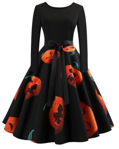 Halloween Pumkin Printed Flare A Line Dresses