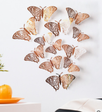 🎄🎄12 PCS Rose Gold DIY Butterflies Wall Decor Setns