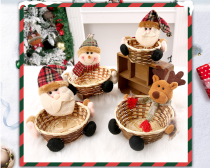 Christmas Candy Storage Basket, Bamboo Christmas Gift Stand, Santa Claus Storage Basket, Gift, Christmas Decoration