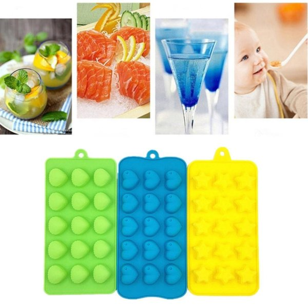 3Pcs Silicone Ice Cube Mold Stacking Ice Cube Tray Storage Containers Kitchen Bar Tools