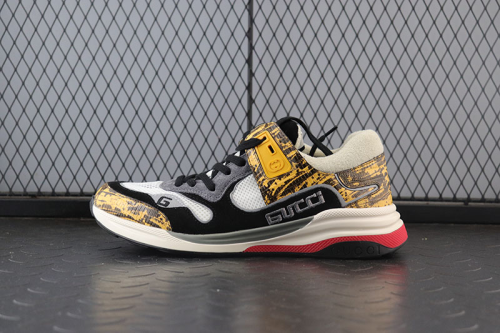Guci Ultrapace Distressed Suede, Mesh and Snake-Effect Leather Sneakers