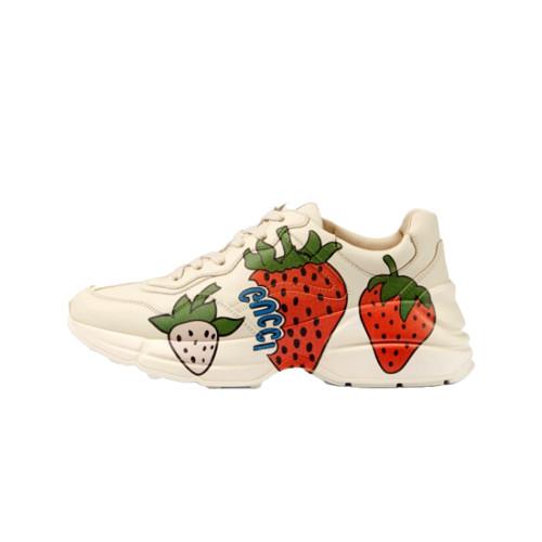 GUCI  Plain Toe Rubber Sole Plain Leather Low-Top Sneakers