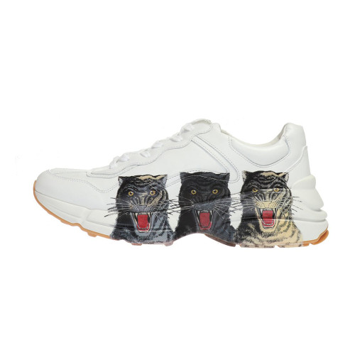 Guci  Men's Rhyton Leather Sneaker With Tigers