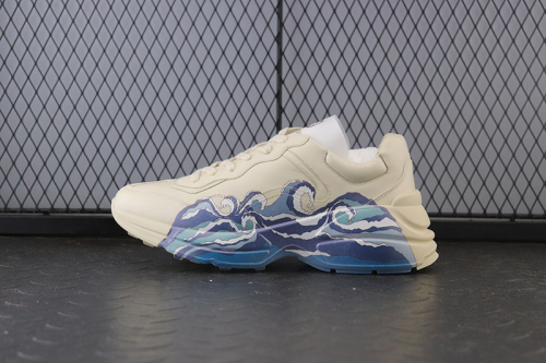 Guci Ivory Leather  Rhyton Sneaker With Wave