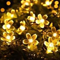 Solar-Powered Warm-White Blossom Flower String Lights