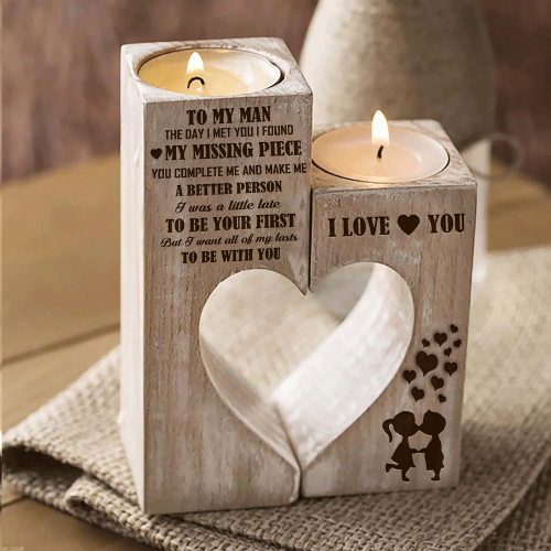 To My Man You're My Missing Piece Engraved Candle Holder