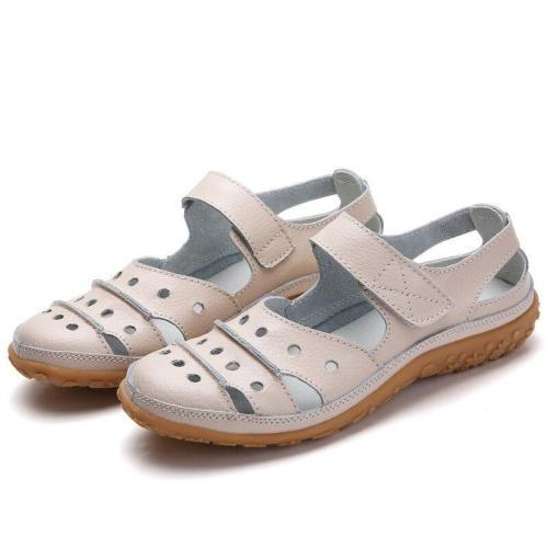 DONGNANFENG Moeder vrouwen Vrouwelijke Dames Echt Lederen Witte Schoenen Sandalen Haak Lus Zomer Koel Strand Holle Zachte LLX-9566