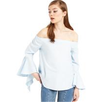 Blue long sleeve off-the-shoulder Top