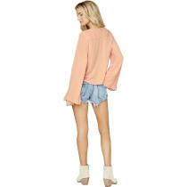 Pink V Neck Loose Fitting  Blouse