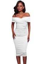 White Ruched Off Shoulder Bodycon Midi Dress
