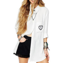 Spring fashion cotton casual poplin ladies tops and blouses women's long white shirts