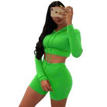 Green Drawstring Crop Hoodie and Shorts Set TQK710091-9