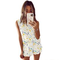 Yellow Symbol Print Sleeveless Pajamas Set TQK710050-10