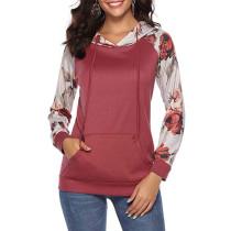 Red Kangaroo Pocket Floral Sleeve Hoodie TQK00300-3