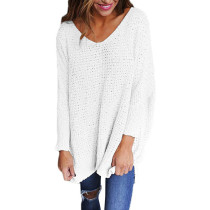 White Oversize Long Sleeve V Neck Knit Sweater TQK271040-1