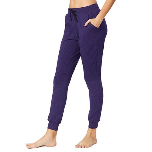 Purple Drawstring Yoga Joggers TQK520022-8