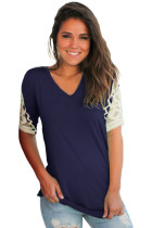 Navy Ruched Top with Crochet Detail
