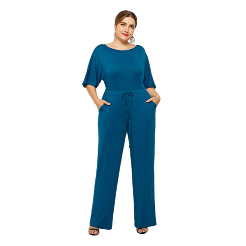 Blue Wide Leg Plus Size Jumpsuit TQK550059-5