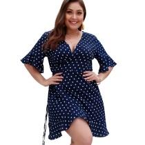 Navy Blue Polka Dot Front Wrap Plus Size Dress