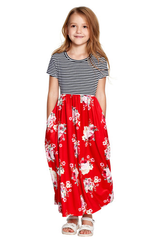 Red Striped Floral Print Little Girls Maxi Dress