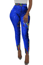 Blue High Waist Retro Sequin Leggings
