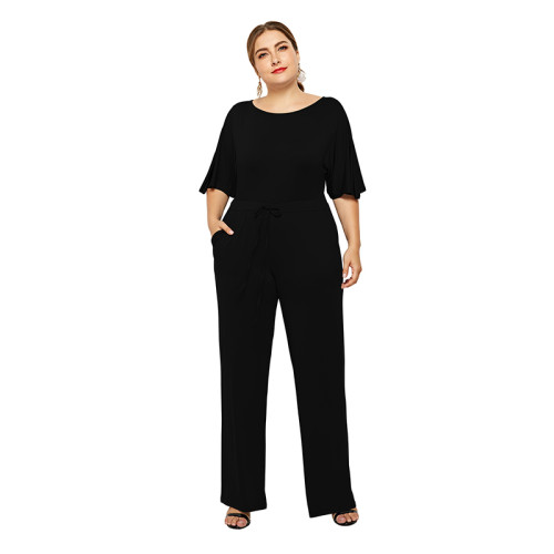Black Wide Leg Plus Size Jumpsuit TQK550059-2