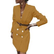Yellow Button Detail Long Blazer Suit TQK260028-7