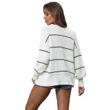 White Striped Long Sleeve Cardigan TQK271084-1