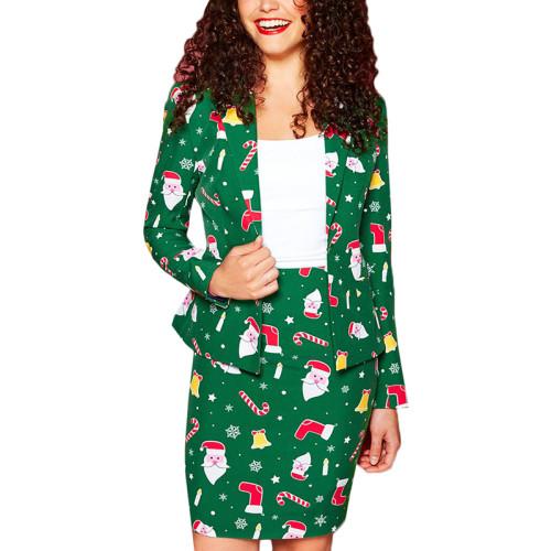 Green Santa Print Christmas Blazer with Skirt Set TQK710027-9A