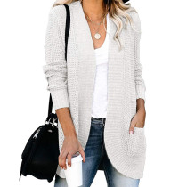 White Chunky Wide Cardigan with Pockets TQK271082-1