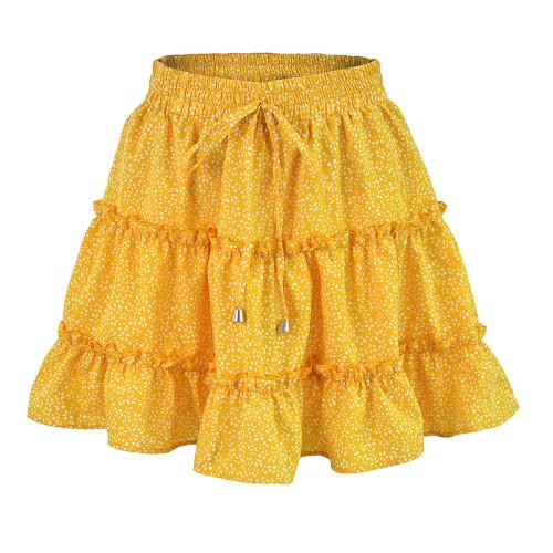 Yellow Floral Print A-Line Mini Skrit TQK350026-7