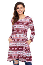 Geometric Snowflake Burgundy Long Sleeve Christmas Dress