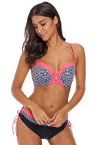 Coral Trim Retro Plaid Bikini 2pcs Swimsuit