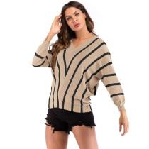 Khaki Stripes V Neck Bat Sleeve Knit Blouse GJZ0079-21