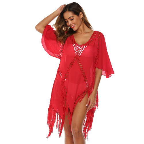 Red Hollow Out Tassel Beach Cover up GJZ00205-3