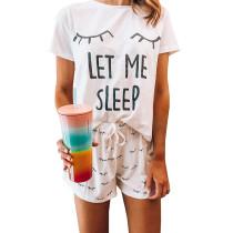 White Let Me Sleep Short Sleeve Pajama Set TQK710039-1