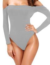 Gray Off Shoulder Long Sleeves Bodysuit TQ00107-11