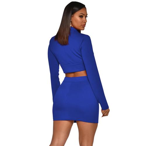 Blue Button Details Blazer with Skirt Set TQS710027-5